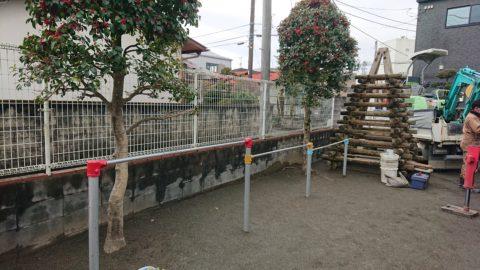 神奈川の某幼稚園 滑り台 鉄棒の撤去ならびに 新しい砂場と鉄棒の設置工事